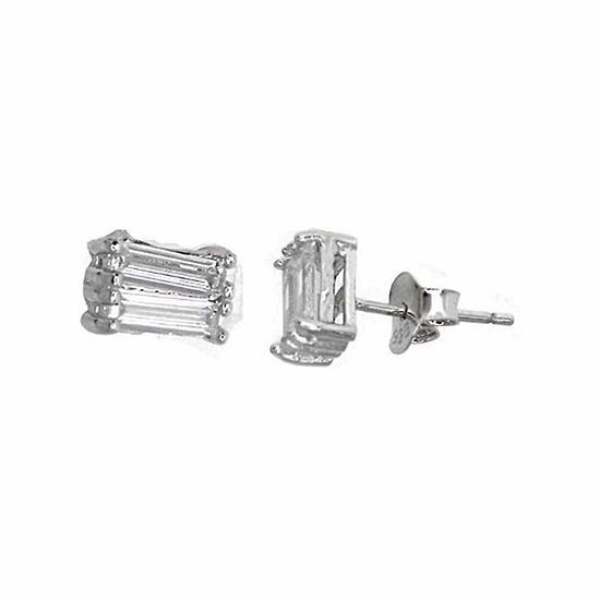 Sterling Silver Rhodium 2x6mm Baguette-Cut Cubic Zirconia Stud Earring