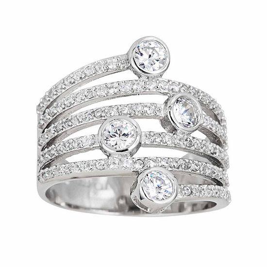 Sterling Silver Vertical Bezel Fashion Ring