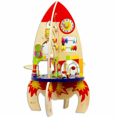 Wood Multi Activity Rocket Toy Playset - Unisex