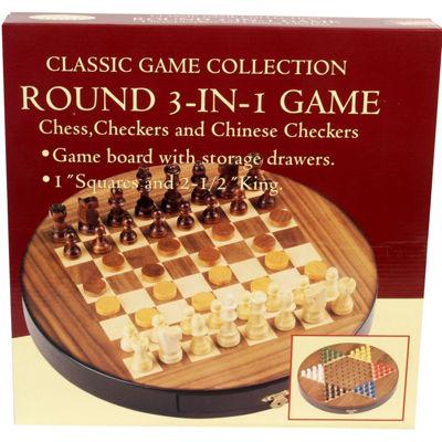 Walnut Inlaid Round 3-In-1 Game Set