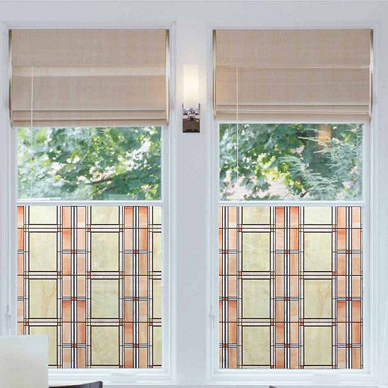 17in X 78in Arts And Crafts Stained Gl Window Film Set Of 2