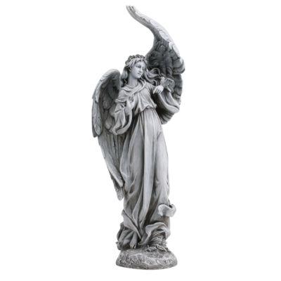 """19"""" Garden Angel With  Birds Outdoor Statue"""