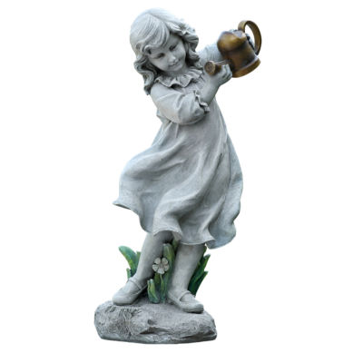 "22"" Girl with Watering Can Outdoor Statue"