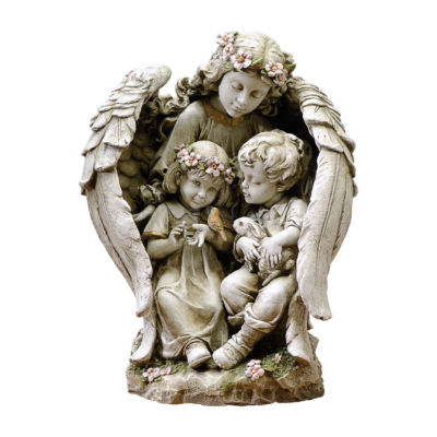 "16"" Angel with Children Outdoor Statue"