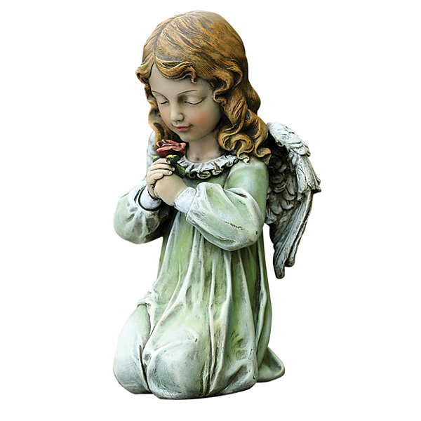 "12"" Kneeling Angel Outdoor Statue"