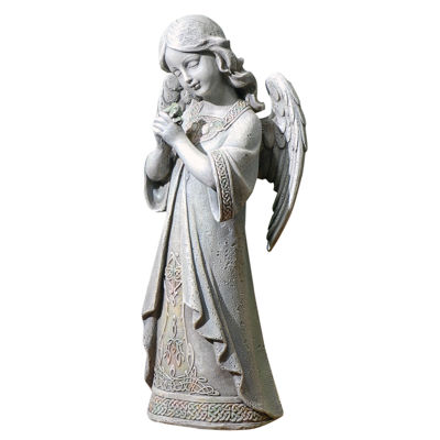 "16"" Pray Celtic Angel Outdoor Statue"