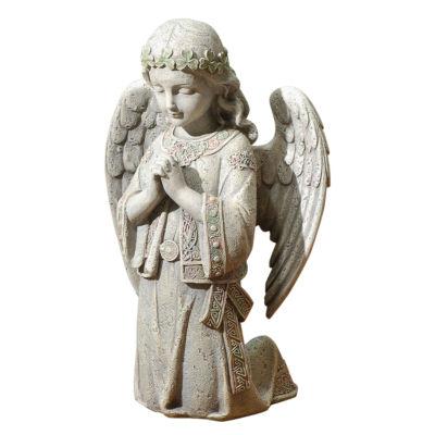 """12.25"""" Celtic Kneel Angel Outdoor Statue"""