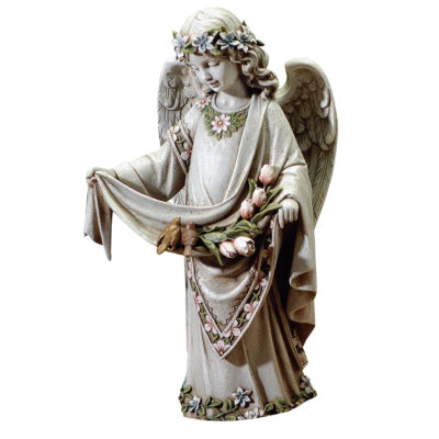 ANGEL WITH BIRDS ON DRESS OUTDOOR STATUE