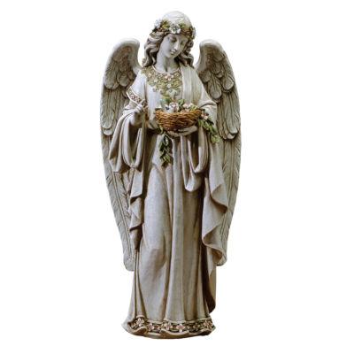 "24"" Angel Holding Nest Outdoor Statue"