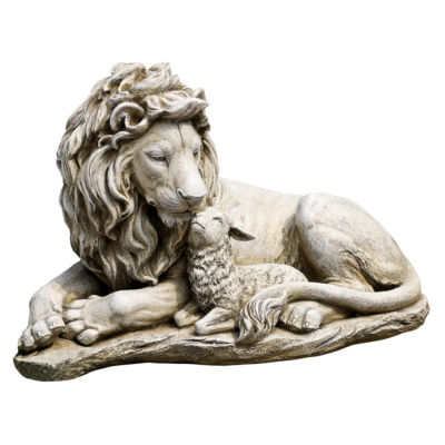 """12.5"""" Lion And Lamb Fig Outdoor Statue"""