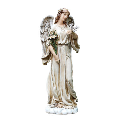 "24.5"" Angel with Dove Outdoor Statue"