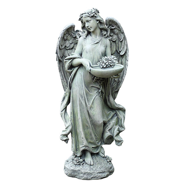 "15.75"" Angel with Bowl Birdfeeder"
