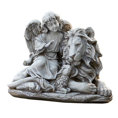 """11.5"""" Angel Lion And Lamb Outdoor Statue"""