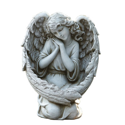 "13"" Angel With Bird Feeder Outdoor Statue"