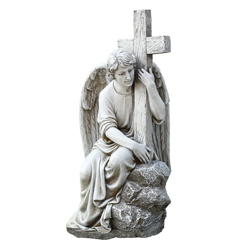 "13"" Seated Male Angel With Cross Outdoor"