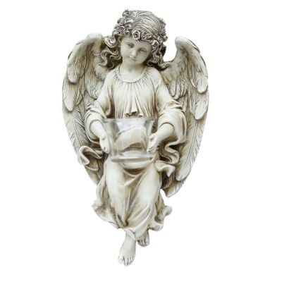 "13.75"" Angel With T Ealight Holder Outdoor Statue"