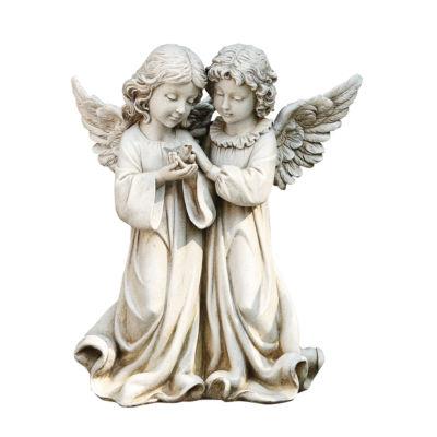"""12.25""""  Angels with Bird Outdoor Statue"""
