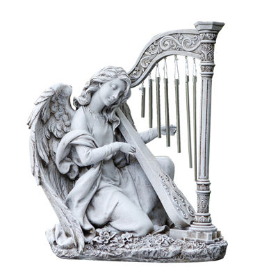 KNEELING ANGEL WIND CHIME OUTDOOR STATUE