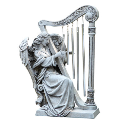 "10"" Angel With  Harp Chimes Outdoor Statue"