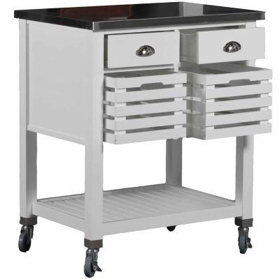 Robbin Stainless Steel-Top Kitchen Cart