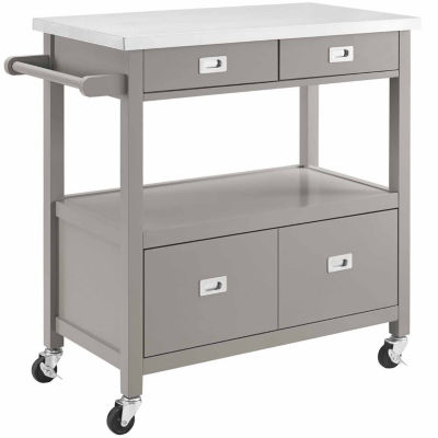 Sydney Stainless Steel-Top Kitchen Cart