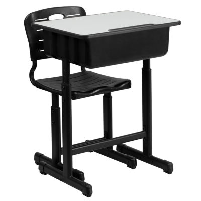 Adjustable Height Student Desk and Chair with Pedestal Frame