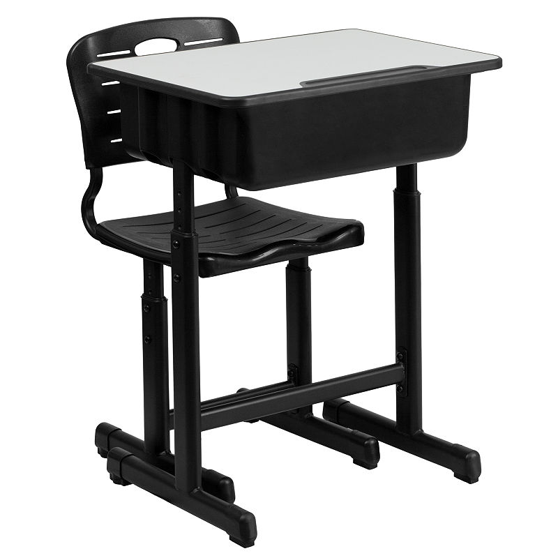 Open Front Desk And Chair Set - Adult - Black Natural - 79438870018