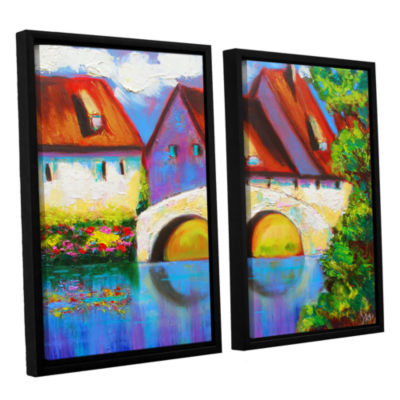 Brushstone German Village on Rhine 2-pc. Floater Framed Canvas Set