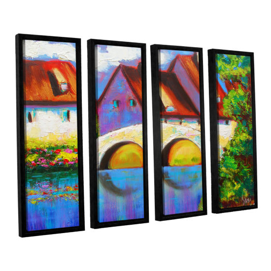 Brushstone German Village on Rhine 4-pc. Floater Framed Canvas Set