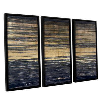 Brushstone Golden Sand 3-pc. Floater Framed CanvasSet