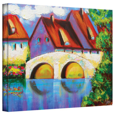 Brushstone German Village on Rhine Gallery WrappedCanvas