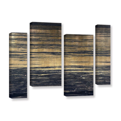 Brushstone Golden Sand 4-pc. Gallery Wrapped Canvas Staggered Set
