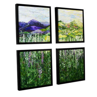Brushstone Gentle Shadows 4-pc. Floater Framed Canvas Sqare Set
