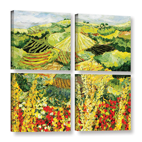 Brushstone Golden Hedge 4-pc. Gallery Wrapped Canvas Square Set