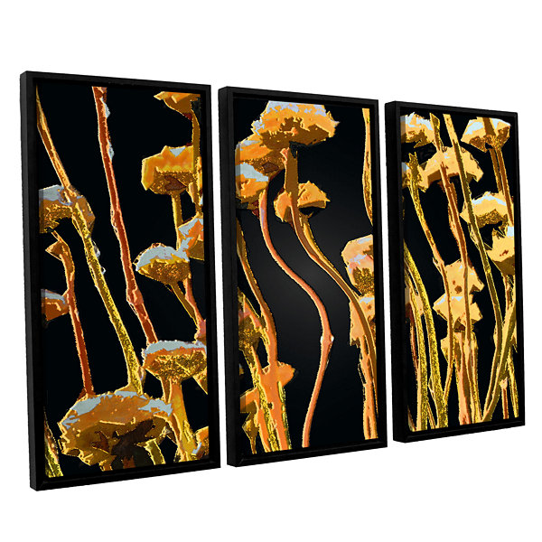 Brushstone Geo Garden Dew 3-pc. Floater Framed Canvas Set