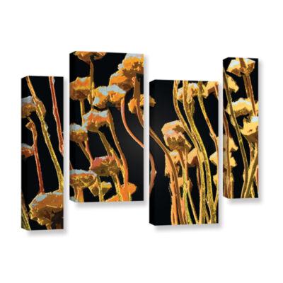 Brushstone Geo Garden Dew 4-pc. Gallery Wrapped Canvas Staggered Set