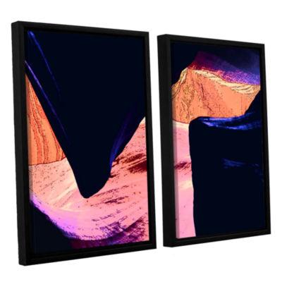Brushstone Geometric Erosion 2-pc. Floater FramedCanvas Set