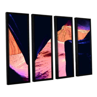 Brushstone Geometric Erosion 4-pc. Floater FramedCanvas Set
