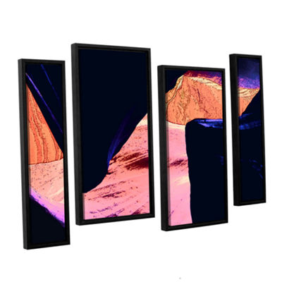 Brushstone Geometric Erosion 4-pc. Floater FramedCanvas Staggered Set