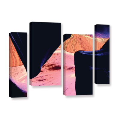 Brushstone Geometric Erosion 4-pc. Gallery WrappedCanvas Staggered Set