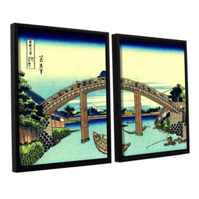 Brushstone Fuji see through the Mannen bridge at Fukagawa 2-pc. Floater Framed Canvas Set