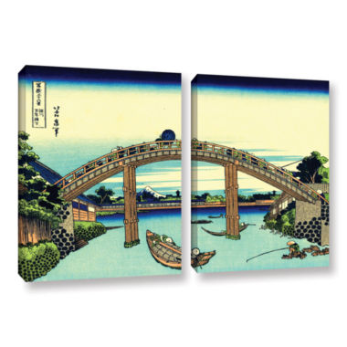 Brushstone Fuji see through the Mannen bridge at Fukagawa 2-pc. Gallery Wrapped Canvas Set