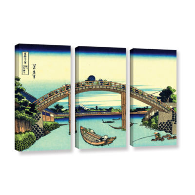 Brushstone Fuji see through the Mannen bridge at Fukagawa 3-pc. Gallery Wrapped Canvas Set