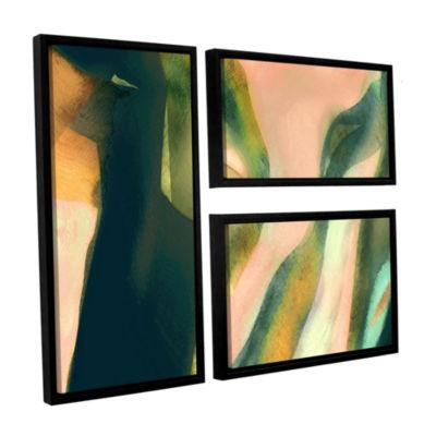 Brushstone Geometry Rising 3-pc. Floater Framed Canvas Flag Set