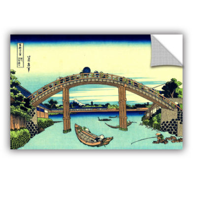 Brushstone Fuji see through the Mannen bridge at Fukagawa Removable Wall Decal