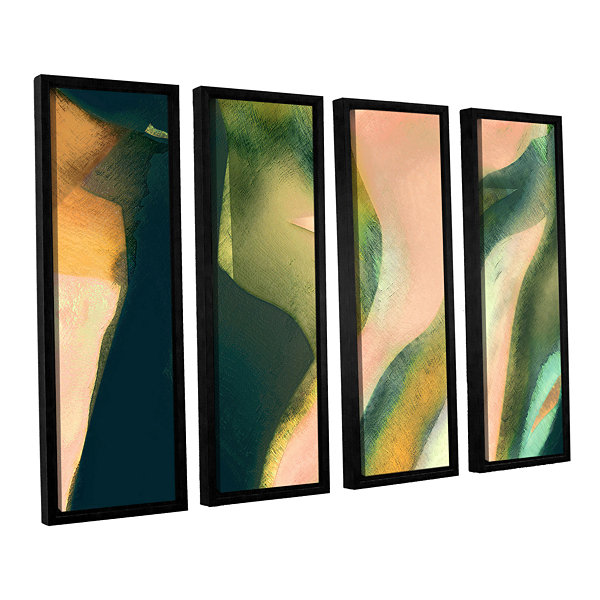 Brushstone Geometry Rising 4-pc. Floater Framed Canvas Set