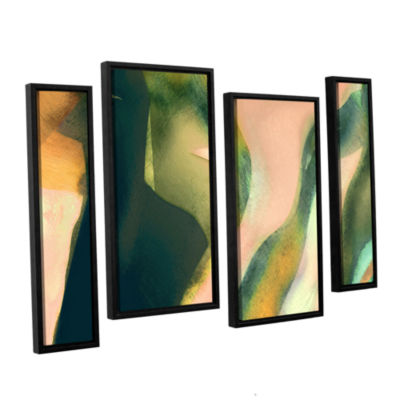 Brushstone Geometry Rising 4-pc. Floater Framed Canvas Staggered Set