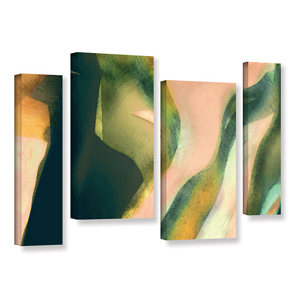 Brushstone Geometry Rising 4-pc. Gallery Wrapped Canvas Staggered Set