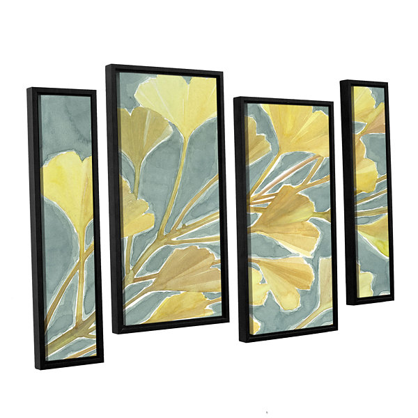 Brushstone Gorgeous Ginko 4-pc. Floater Framed Canvas Staggered Set