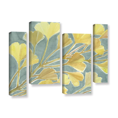 Brushstone Gorgeous Ginko 4-pc. Gallery Wrapped Canvas Staggered Set